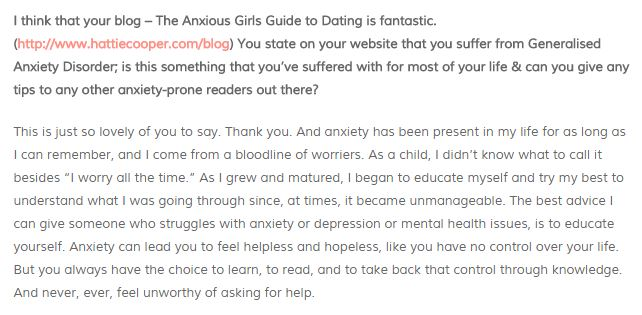 Advice for dating someone with anxiety
